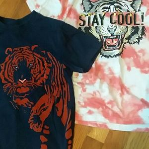 Sequined boys tiger shirt and one other tiger shir